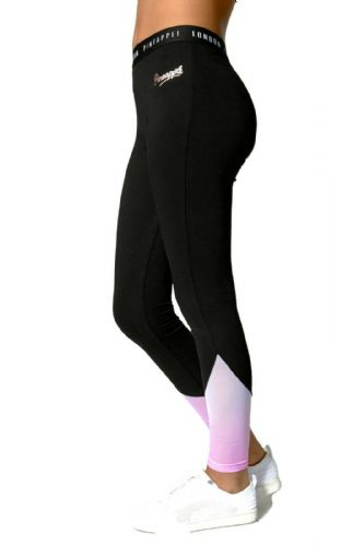 PINEAPPLE DANCEWEAR Girls Dance Ombre Mesh Panel Leggings Black with Pink